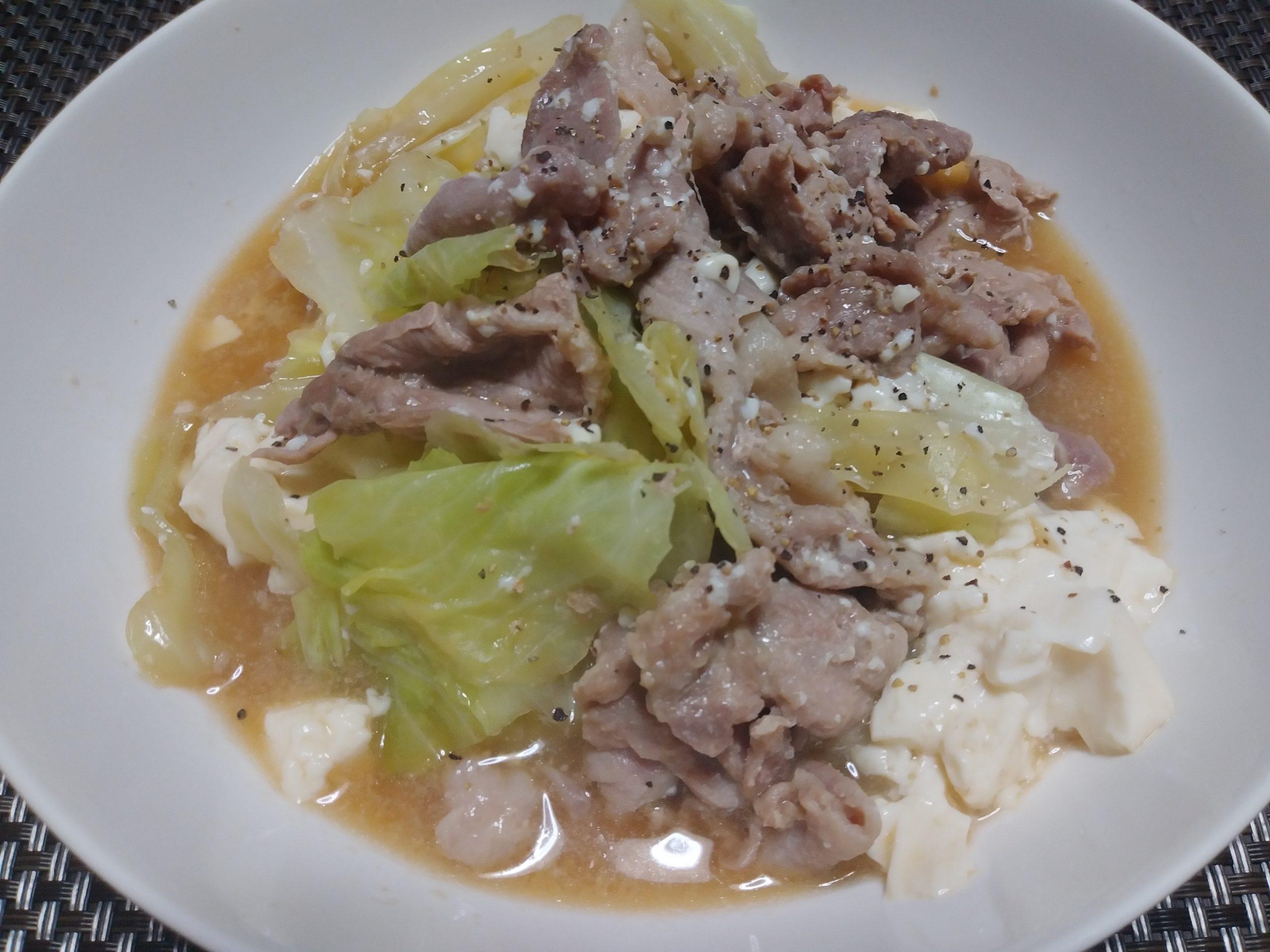 豚キャベツ豆腐のモツ鍋風 レンジ